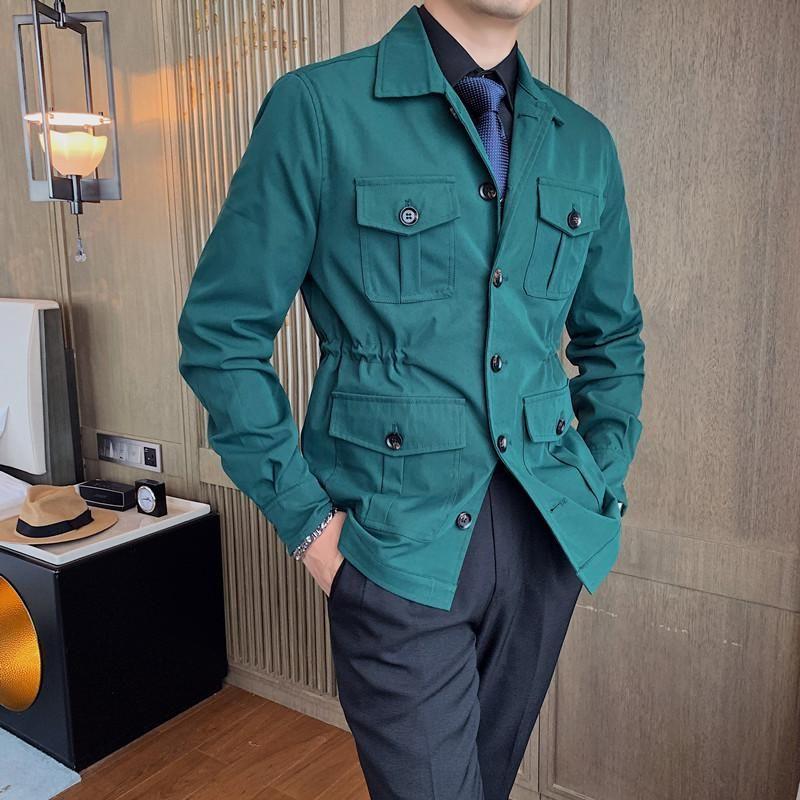 Estilo britânico multi bolsos senhoras jaqueta simples vintage casacos casuais homens vestuário outono moda negócios de escritório de negócios