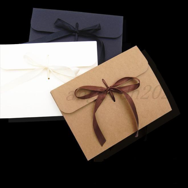 24 * 18 * 0,7 cm große kraft photo umschlag postkarte box verpackungsfall weiß papier geschenk umschlag für seidenschal mit bandbox dhl frei
