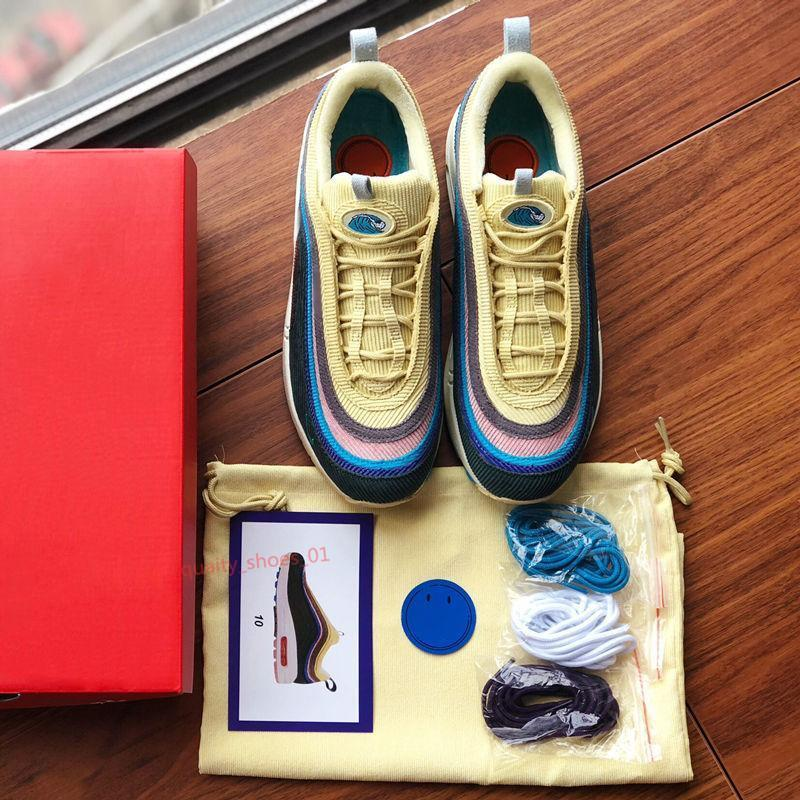Nike Air Max 97 Melhor SW 97 Sean Wotherspoon Design Sapatos 97s Vivid Sulfur Multi Amarelo Azul Híbrido Running New Mens Womens Boots