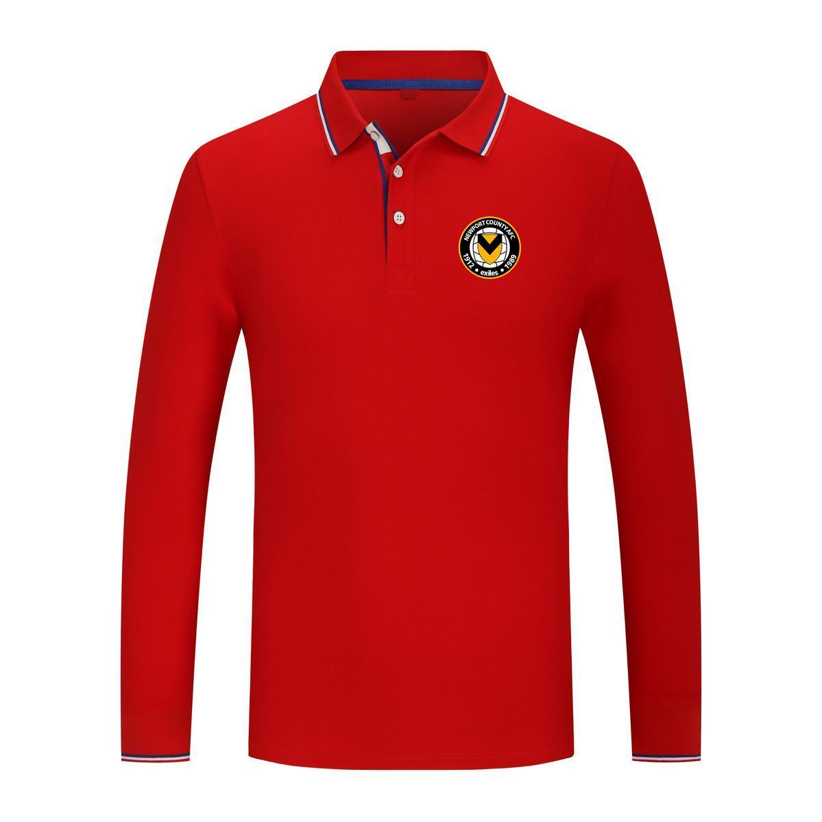 2021 Newport County New Manga larga Sports Sports Polo Shirt Algodón Pure Color Casual Men's Polo Camiseta de polo de alta calidad Serie de golf Jersey