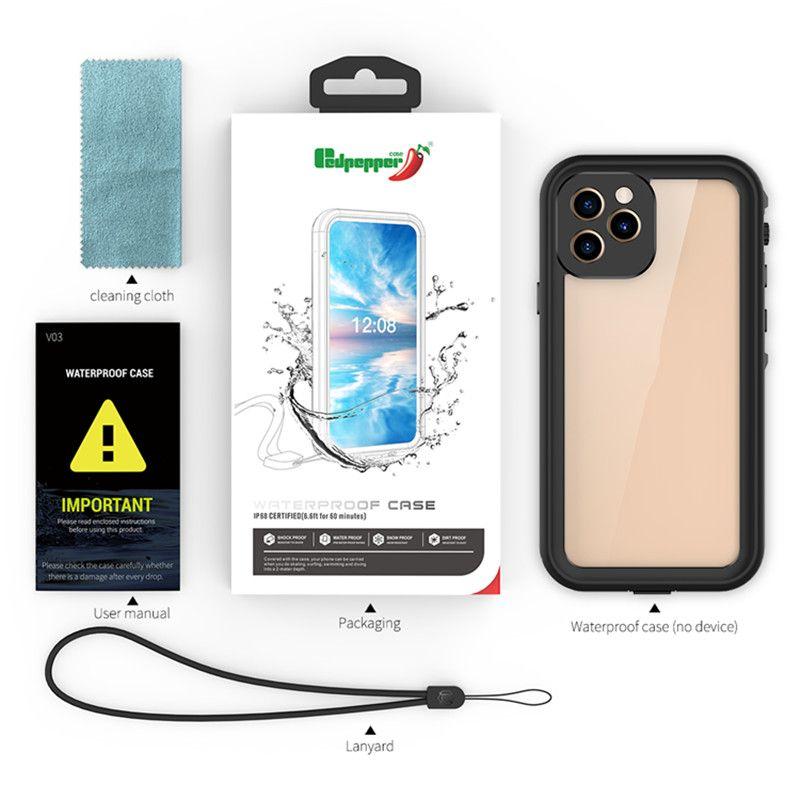 حالات الهاتف للماء ل iPhone12 مصغرة 11 برو XR ماكس xs 8plus 7 6S واضح redpepper صدمات الصدمات
