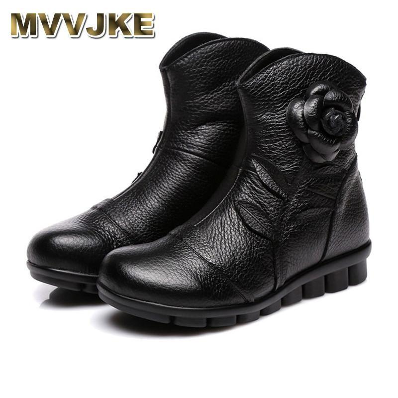 Botas mvvjke 2021 zapatos de mujer primavera hembra genuina cuero hecho a mano estilo vintage tobillo moda
