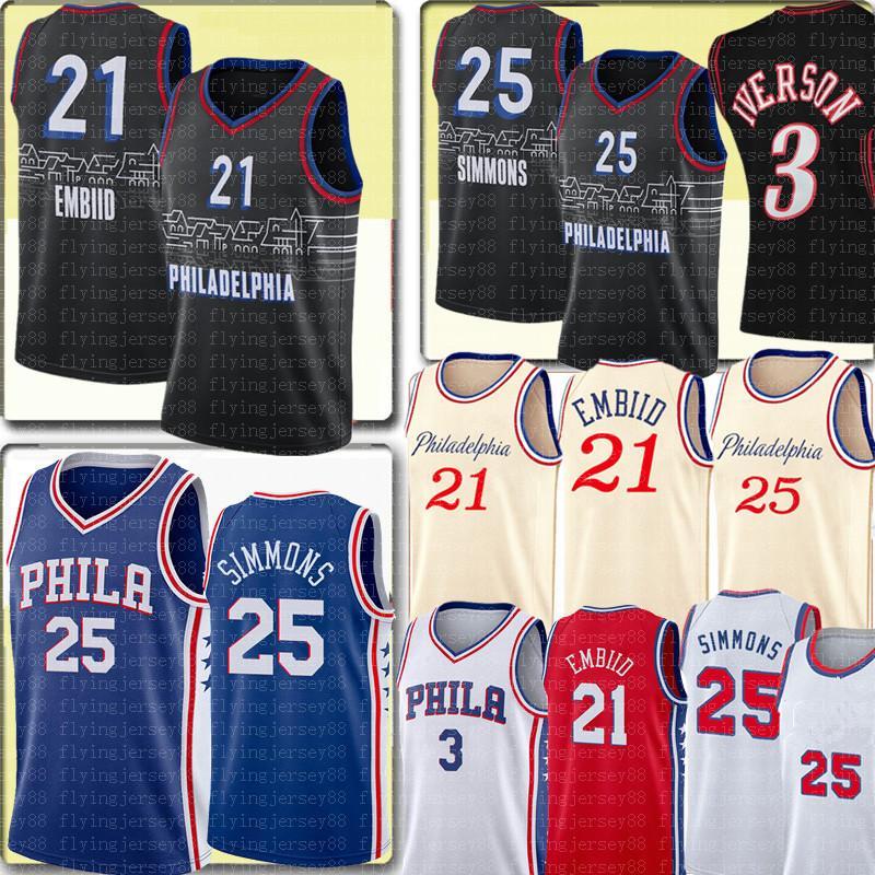 Top Joel 21 Embiid Jersey Ben 25 Simmons Allen 3 إيفرسون جيرسي التطريز ريترو شبكة ألين 3 إيفرسون الفانيلة كرة السلة