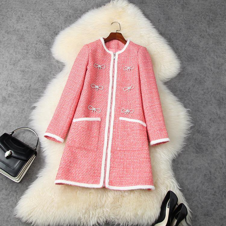 유럽 및 미국 여성의 착용 2020 겨울 새로운 스타일 긴 소매 보우 못 구슬 유행 핑크 트위드 코트