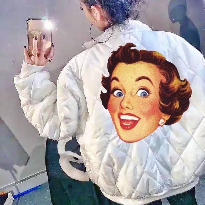 [Tragen Sie beide Seiten] Social Damen Baumwollgepolsterte Jacke mit demselben bestickten Diamantgitter, lässig und vielseitigem Mode Slim-Fit Jacke