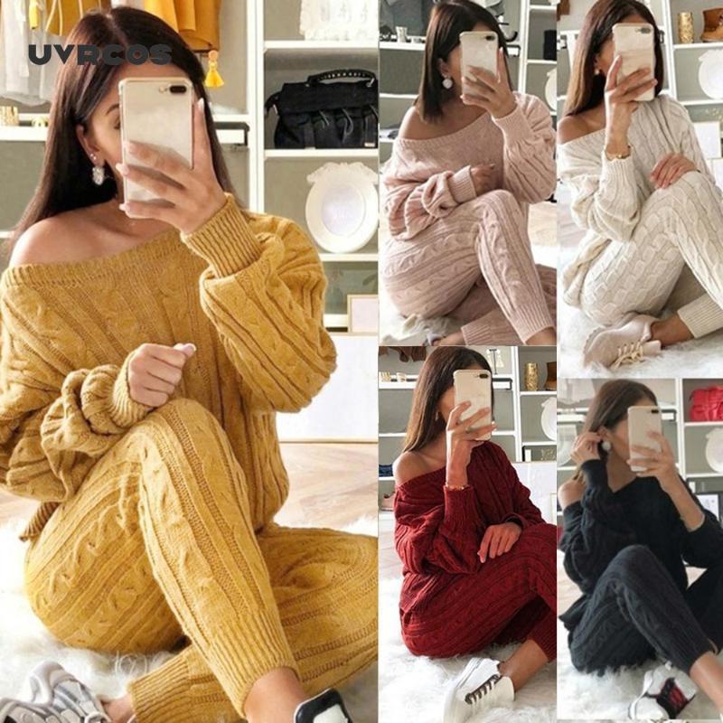 UVRCOS Женщины 2 Piece Set Рождественские свитера осень зима Вязаная Комплект обмундирования дамы O шеи пуловер Топы + брюки нарядах