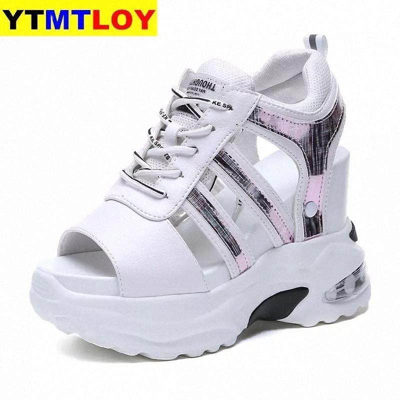 2021 -HOT досуг клинья женские туфли летние женщины сандалии платформа высокие каблуки случайные женщины Blingpeep ног на высоком каблуке белый коренастый # NG3W