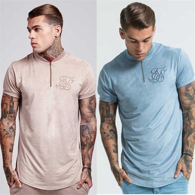 2019 verano algodón seda siksilk Veet tela hip-hop corte irregular cremallera camiseta longline superior con