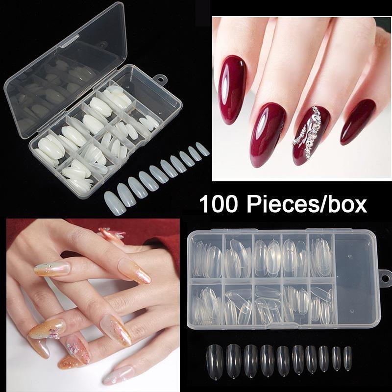 100 Piezas / Caja Oval Tapa Completa Tips Falso Nail Tips Larga Acrílico Nails Artificiales Ronda 10 Tamaños Presione en las uñas Arte Largo Salón Consejos