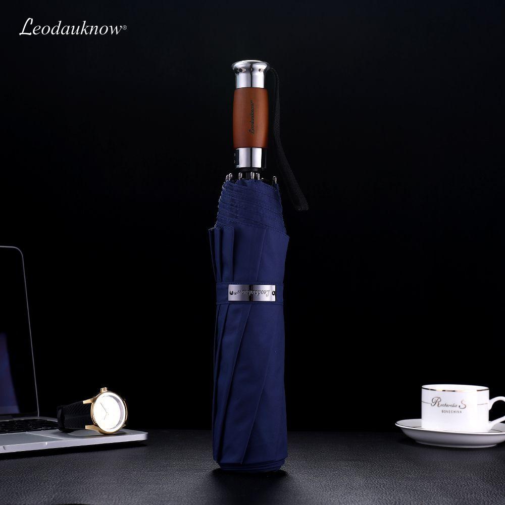 Véritable marque de grandes marques pliantes parapluie pliante de 1,2 mètres d'entreprise hommes Umbrellas automatiques parasols mâle bleu foncé bleu et noir T200117