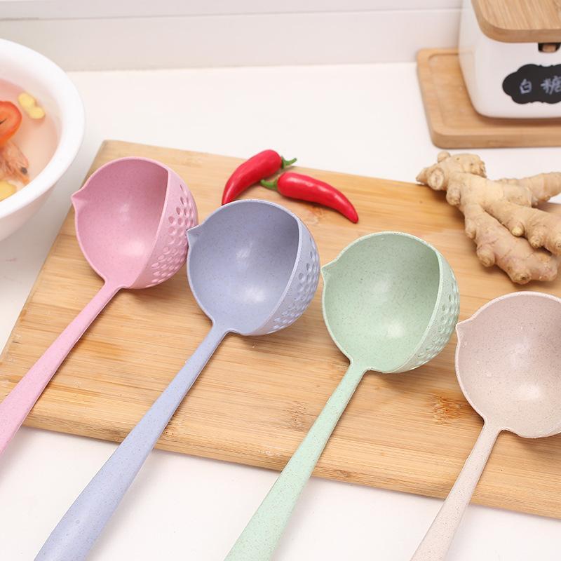 Cucharas de color sólido Mango largo Plástico Big Dos en una sopa Scoop Originalmente Moda Cuchara de cucharón estilo nórdico 0 85lx K2