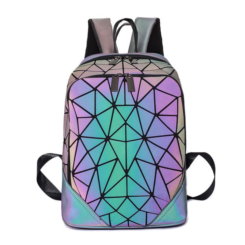 Zaino più realtore per le donne sacchetti di scuola per adolescenti ragazze borsa pack pieghevole Geometrica Zaino luminoso Zaino 80