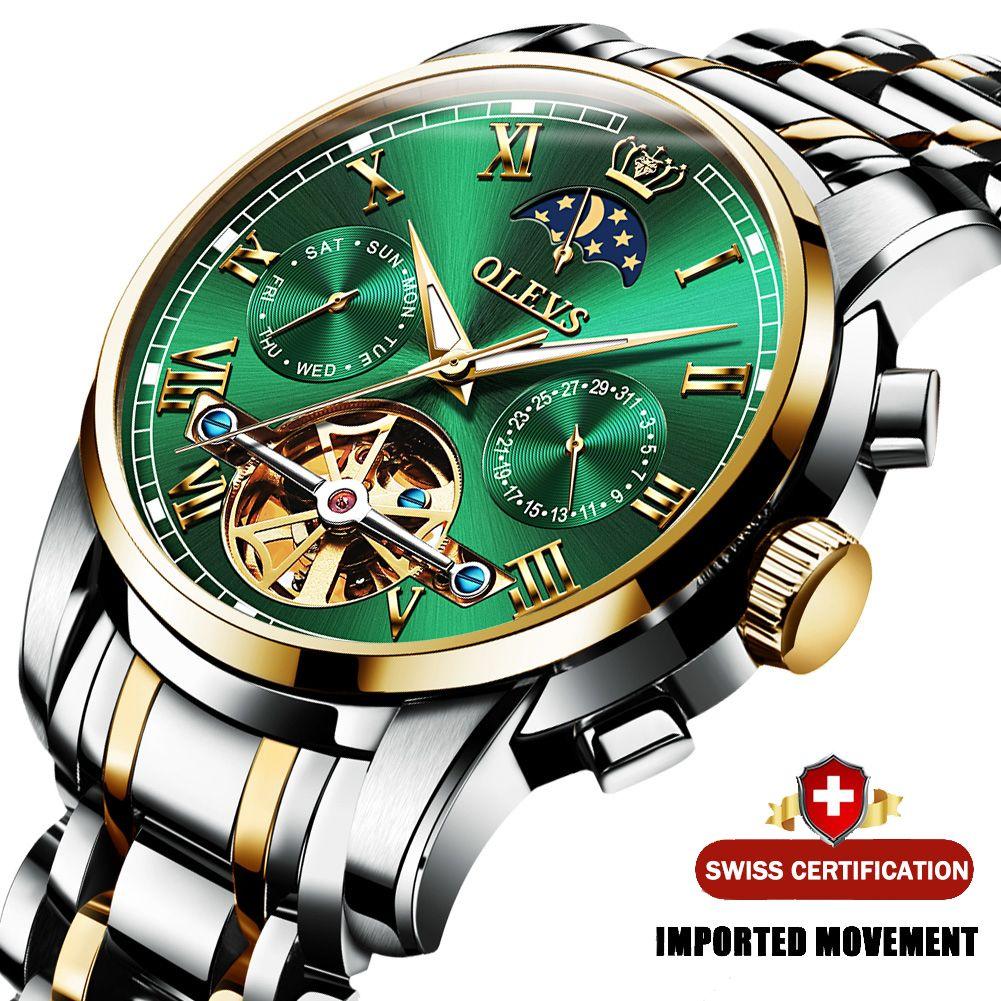 Olevs Men Watch Automatic Mechanical Watch Orologio Stianless Top Brand Dress Luxury Moon Phasetourbillon Orologio da polso Regali per maschili Y1214