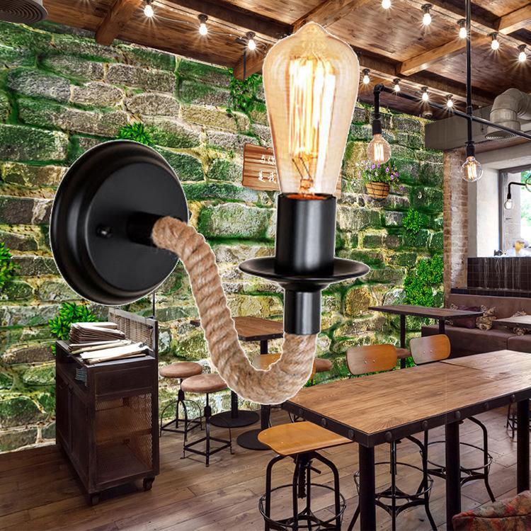 American Country Corda Lâmpada de Parede Retro Luz Sconce Bem Living Loft Lighting Light Light Lâmpadas Interior ZM1121