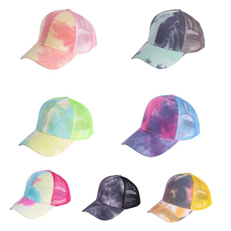 패션 야외 스포츠 바이저 모자 7 색 그라데이션 여름 환기 그물 포니 테일 스냅 백 힙합 스타일 볼 게임 스포츠 모자 11JS L2