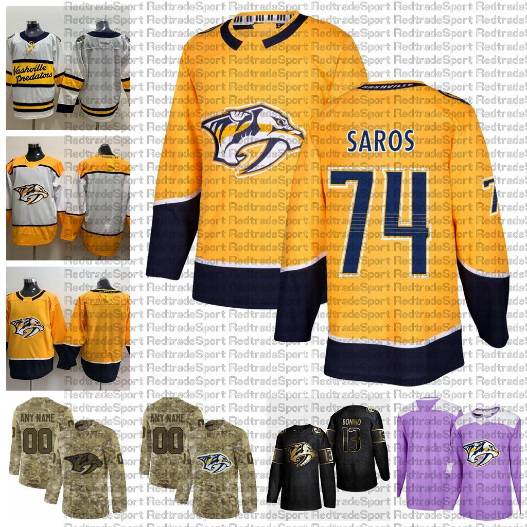 2021 Настройка # 74 JUSIOUSE SAROS NASHVILLE HESTATTERS HESTATTERS THERNYSS HELD EDITION CAMO ветеранов Дня борьбы с раком на заказ сшитые хоккейные изделия