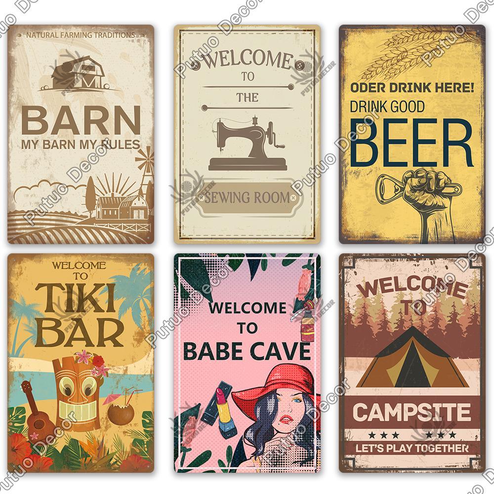 2021 Drôle Tiki Bar Métal Plaque Plaque Métal Vintage Signe métal Signe d'étain Décor mural pour la chambre de grange Homme Cave Garage Garage Peinture de fer