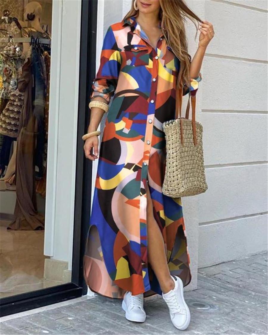 Camisa de cuello de giro de las mujeres vestido largo de otoño de otoño vestido casual otoño manga larga playa vestido maxi vestido Vestido 4xl HT-3