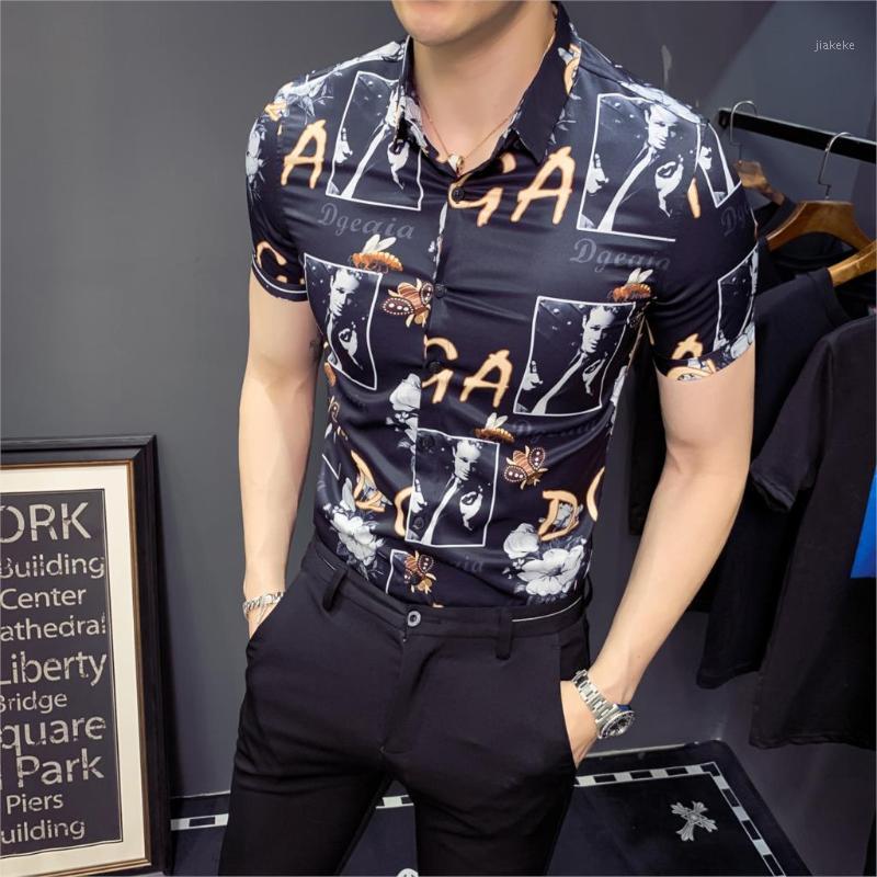 Inglaterra Hombres Impresión de manga corta Camisa de diseño Club de noche TUXEDO TUXEDO Camisas Hombres Slim Fit Shirt Streetwear Camisa Social Masculina1