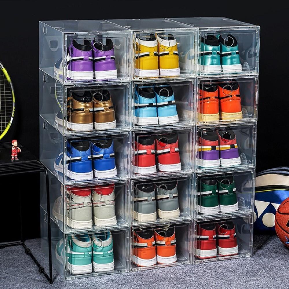 Engrossar sapatos de esporte de plástico caixas de armazenamento à prova de poeira tênis transparente organizador empilhável caixa doméstica caixa de exposição tamanho 47 US13