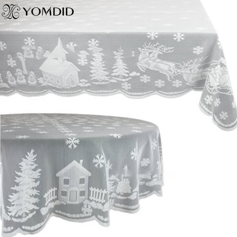 Yomdid белый кружевной скатерть macrame скатертью, ноэль круглый / прямоугольник свадьба обеденный стол крышка рождественская вечеринка