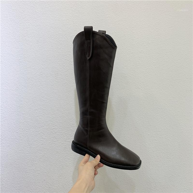 Meat 2020 Newautumn and Winter Fashion Women Women Boots grueso tacón de heel botas de cabeza de alto tubo caballero hembra SG0401