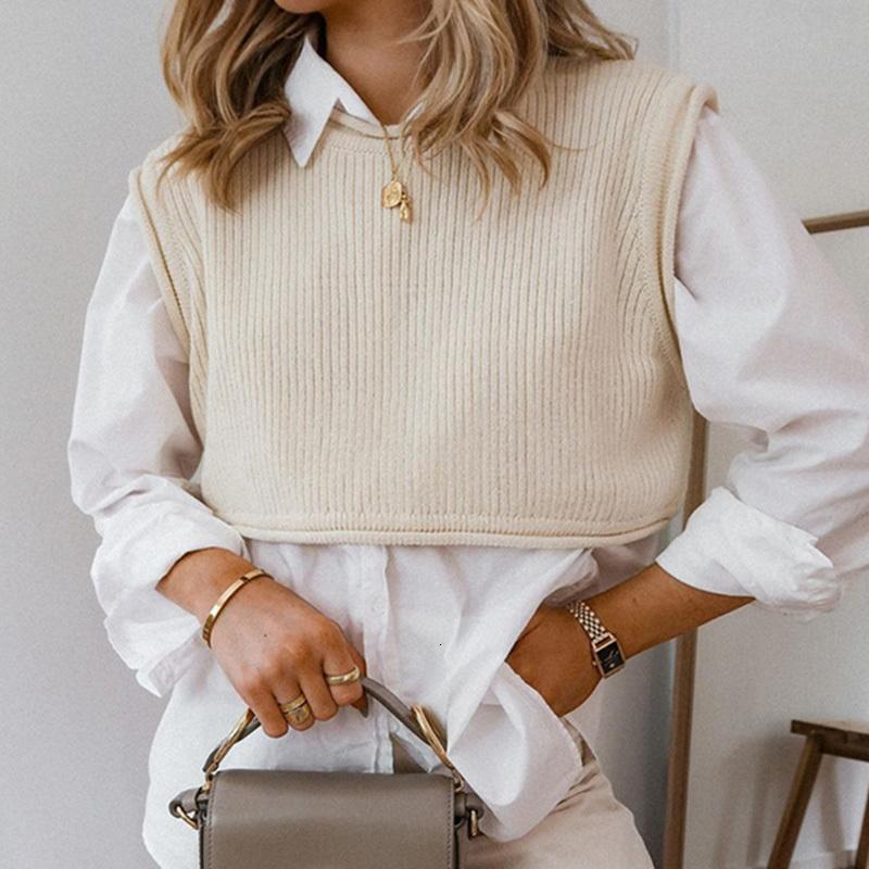 2021 Новый повседневный женский трикотажный свитер жилет свободные круглые шеи без рукавов пуловер твердого цвета High Street моды урожая вершины E6YT