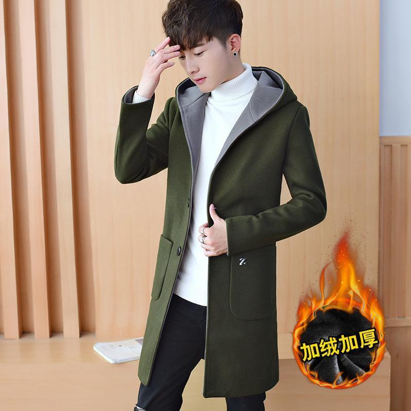 Мужская шерстяная смесь сезона добавить шерстяную ткань пальто Han Edition Colvivate Morality человек с толстой длинной веткой