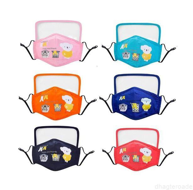 Cara 2020 Diseñador con niños Algodón PM2.5 Gafas lavables Máscara anti-polvo Coloridas de tela no tejida para niños Máscaras de tela