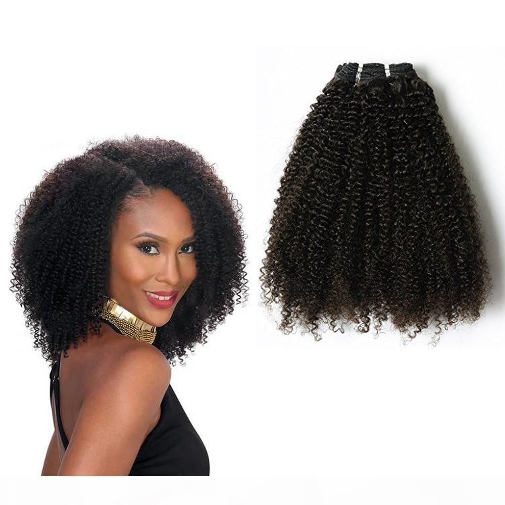 Cheveux brésiliens de Vierge Mongolie attrayant Afro bouclés clip 4c sur les cheveux naturels noir 10-22inch ensemble remy indiens 7pcs cheveux 1set beaucoup