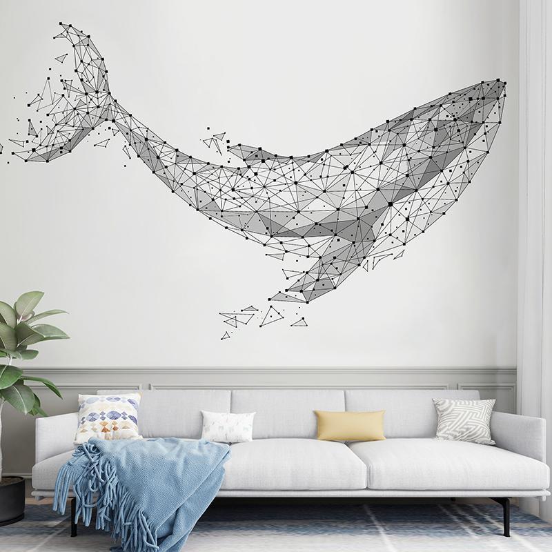 Pegatinas de la pared de la ballena de dibujos animados DIY Pescados Animal Lapacas de pared para niños Habitaciones Sala de estar Nursery Decoración del hogar 201130