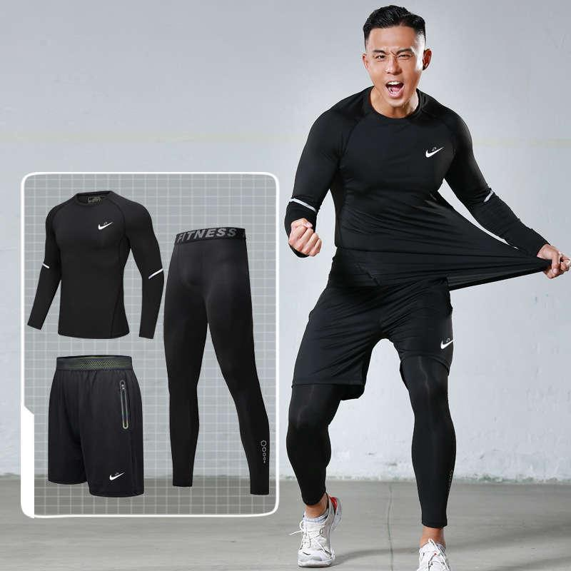 Spring and summer fitness men's three piece high elastic speed dry tights four dimensional sportswear suit
