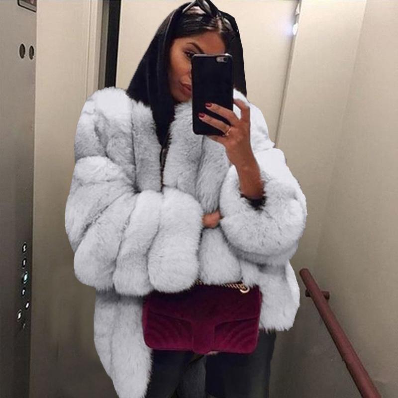 Sıcak Satış Moda Kadınlar Faux Kürk Kış Yüksek Kalite Kalın Kadın Palto Sıcak Artı Boyutu Peluş Kürklü Kadın Ceket Kaban Kabanlar 4XL