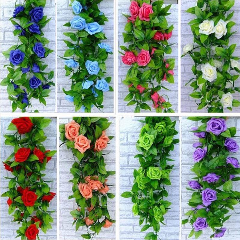 2.4 m Extra Largo Seda artificial Rose Rose Flor Vid Wisteria Garland Boda Hogar Decoración Ratán 10pcs / LOT Envío Gratis