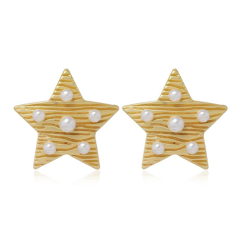 Japanese and Korean Style Textured Metal Texture Five-Pointed Star Pearl Earrings Mori Small Star Ear Studs College Style Earrings