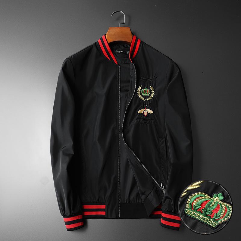 2021 nuevos hombres de manga de costilla de lujo bordados de abeja verde pareja de rayas de béisbol chaquetas de abrigos de béisbol abstracto abrigo digital motor # N100 1MPA