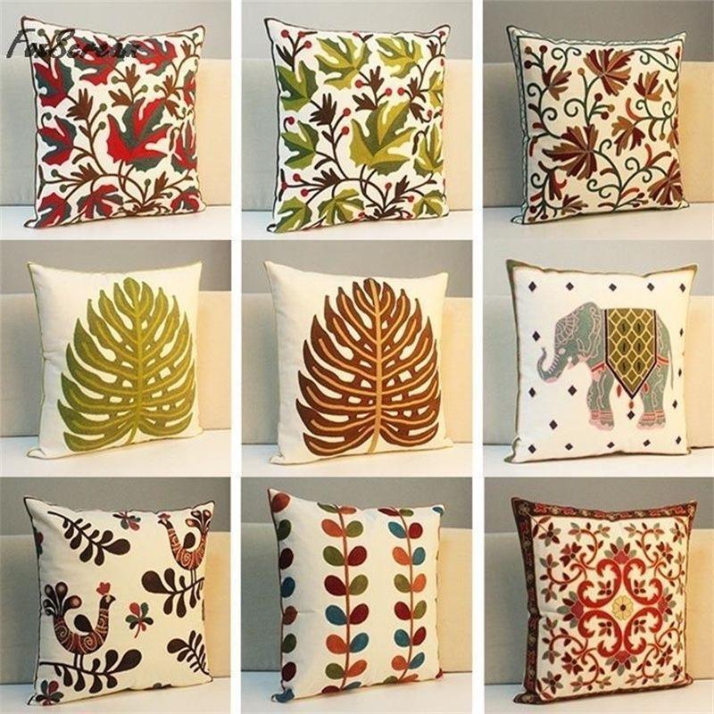 Подушка для ладони для пальма вышитые подушки чехол зеленый слон геометрические декоративные подушки чехлы листьев подушка Y200104
