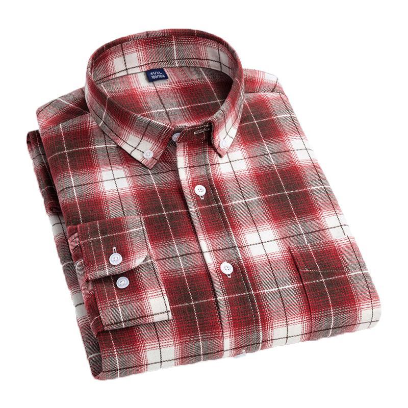 Aoliwen Nouvelle chemise de printemps Hommes 2020 New Streetwear Chemise à carreaux à manches longues à manches longues Mode Lâche Menseurs Chemises Coton Casual Shirt C1211