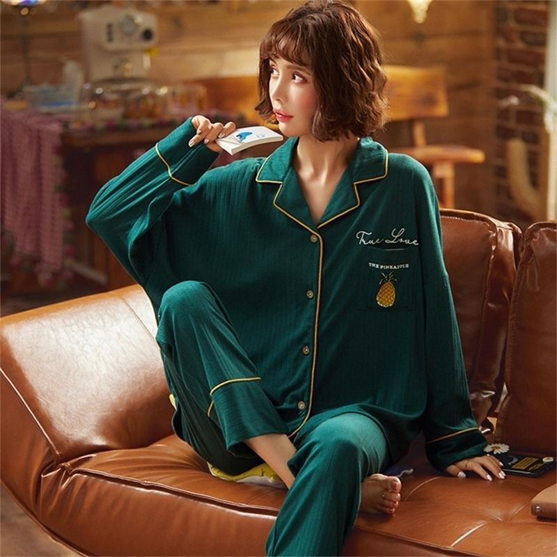 Nightwa Kış Bayanlar Pijama Set Pamuk Turn-down Yaka Rahat Pijama Hırka Gecelikler Uzun Kollu Loungewear Kadınlar 201103