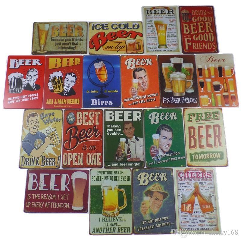 2021 Beer Metal Tin Signes Whisky Vin Plaque Vintage Peinture Affiche murale Autocollant mural PUB Barre de décoration Plaques de décoration Tin Cafe Décoration 20x30cm