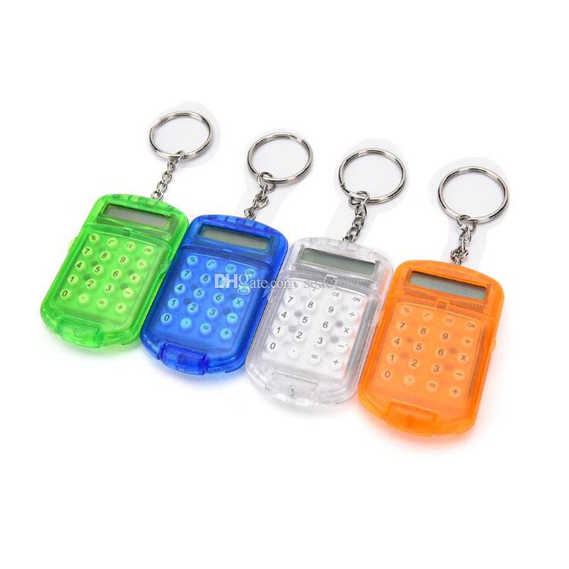 200PCS / LOT NYHET 8-siffrig ficka Mini och lätt att bära kompakt Keychain Calculator Nyckelring Ring Creative Free Shipping