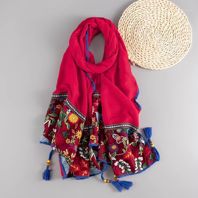 Foulards style ethnique broderie coton écharpe rétro frangée imprimé floral imprimé floral wraps dame foulard hijab musulman sjaal1
