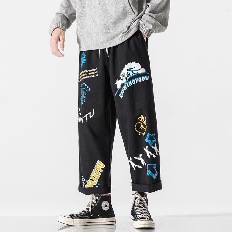 Pantalones para hombres Hombres de otoño Ropa de algodón Impresión de calle Streetwear de gran tamaño Carga Casual Hombre suelto