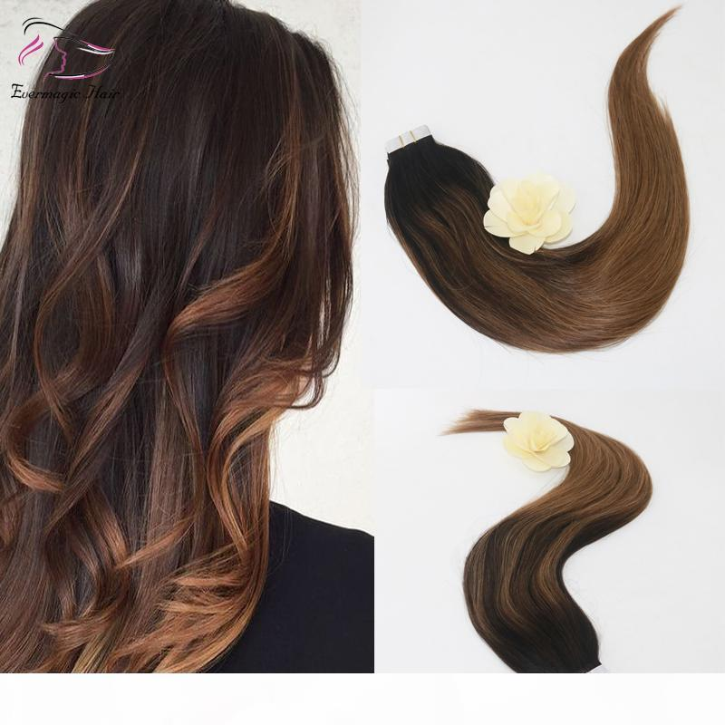 Top Grade High Quality Virgin Remy Hair Balayage Color 2 8# Straight Human Hair PU Tape Hair Extension