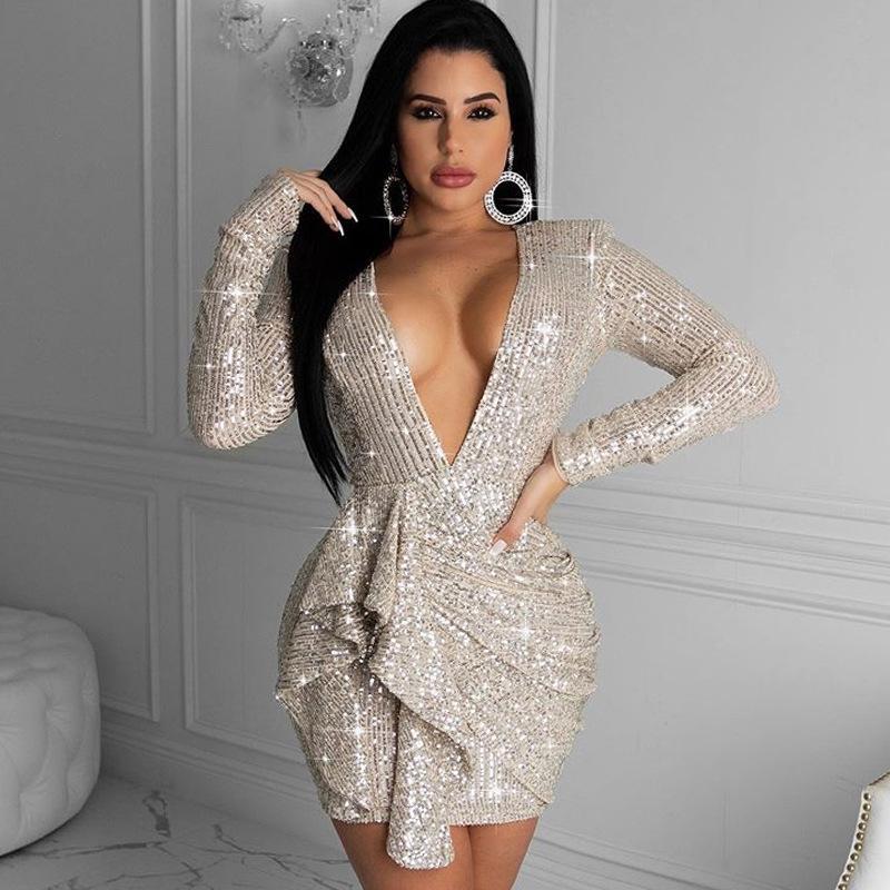 Womens White Gold Silber Glitzer Tiefe V-Ausschnitt Halfter Pailletten eng anliegende Hüfte Abendkleid Dame Sexy Langarm Bodycon Party Minikleid