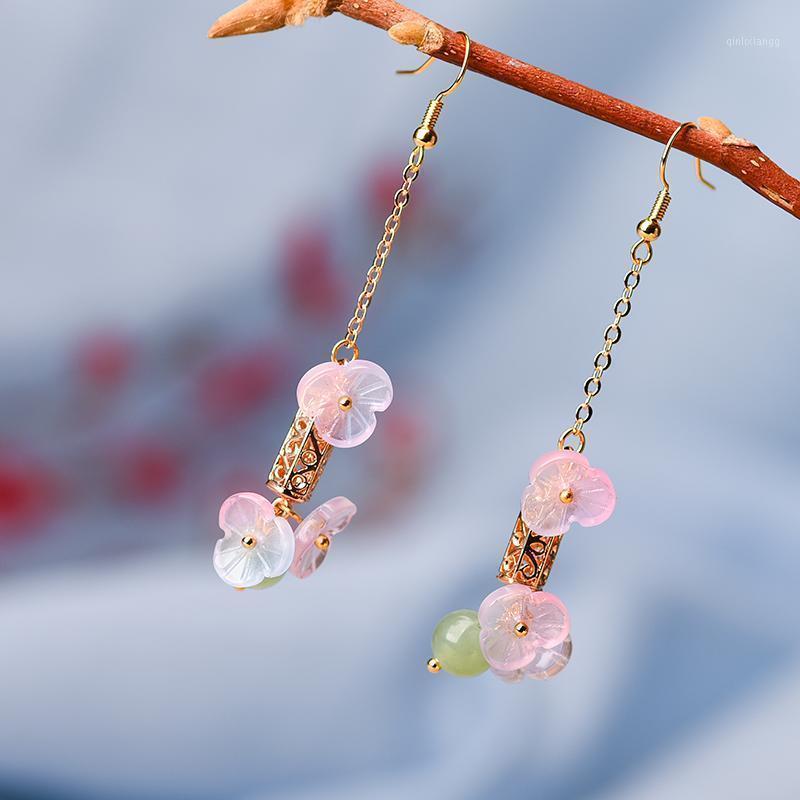 Boucles d'oreilles à fleurs de glands roses à la mode, Vintage longue pierre naturelle Boucles d'oreilles pour femmes 2021 New Wholesale bijoux1