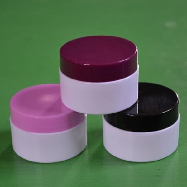 (50pcs) 15G Crema a mano Crema a mano Jar Cosmetics Division Boxing, Piccola scatola di plastica rotonda multicolore, contenitore di imballaggio portatile