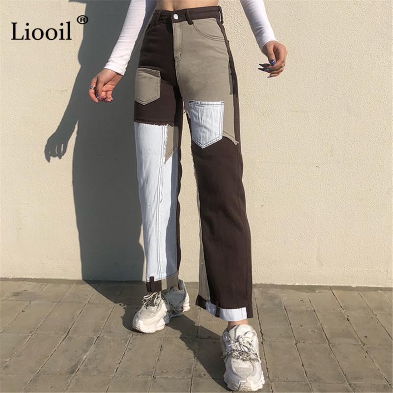 Liooil retalhos jeans de perna reta mulher cintura alta calças com bolsos 2021 streetwear sexy cor bloco marrom calças denim