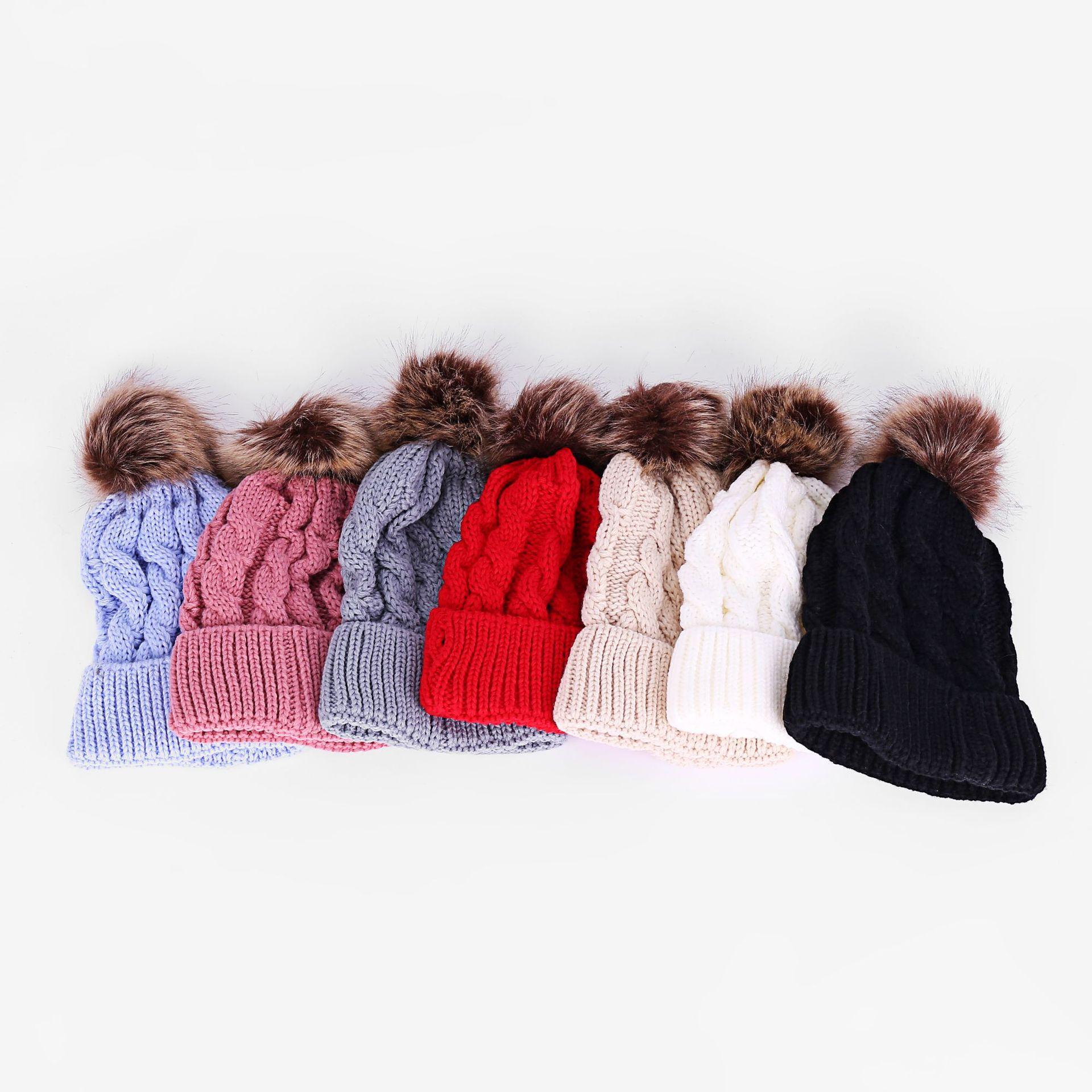 Paprent-child Twist Pom Pom Beanies Crochet Winter Hat Women Kids Children Cuffed Skull Caps Knitted Tuque Ski Slouchy Headwear PPA110