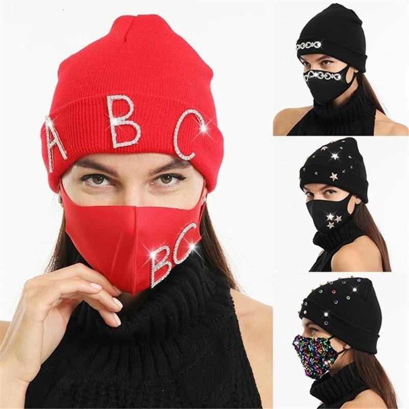 Sombrero máscara conjunto moda color sólido diamante decoración invierno gorro de punto gorros sombrero grueso cálido máscara tapas mujeres a prueba de viento a prueba de viento al aire libre papas de esquí al aire libre E112104